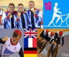 Pódio de ciclismo pista de velocidade por equipes masculinos, Reino Unido, França e Alemanha - Londres 2012-