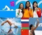 Podium Natação 100 metros livre feminino, Ranomi Kromowidjojo (Países Baixos), Aliaxandra Herasimenia (Bielorrússia) e Yi Tang (China) - Londres 2012-