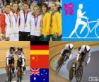 Pódio de ciclismo pista de velocidade por equipes femininas, Kristina Vogel, Miriam Welte (Alemanha), Gong Jinjie, Shuang Guo (China) e Kaarle McCulloch, Anna Meares (Austrália) - Londres 2012-