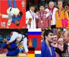 Pódio judô - 100 kg masculino, Rodrigo Khaibulaev (Rússia), Tüvshinbayar Naidan (Mongólia) e Dimitri Peters (Alemanha), Henk Grol (Holanda) - Londres 2012-