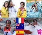 Pódio Canoagem do K1 feminino, Émilie Fer (França), Jessica Fox (Austrália), e Maialen Chourraut (Espanha) - Londres 2012-