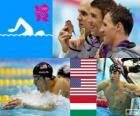 Pódi Natação 200 m medley masculino masculino, Michael Phelps, Ryan Lochte (Estados Unidos) e László Cseh (Hungria) - Londres 2012-