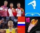 Pódio Ginástica trampolim individual masculino, Dong Dong (China), Dmitry Ushakov (Rússia) e Lu Chunlong (China) - Londres 2012-