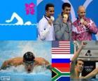 Pódio natação 100 m estilo borboleta masculino, Michael Phelps (EUA), Evgeni Korotyshkin (Rússia), Chad le Clos (África do Sul) - Londres 2012-