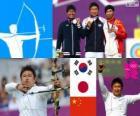 Podium du tir à l'arc individuel hommes, Oh Jin-Hyek (Corée du Sud), Miyakonojō Furukawa (Japon) et le compositeur Dai (Chine) - Londres 2012-