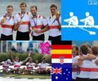 Pódio Remo Skiff quádruplo masculino, Alemanha, Croácia e Austrália - Londres 2012 -
