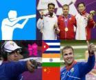 Pódio Tiro rápido 25 m masculino, Leuris Pupo (Cuba), Vijay Kumar (India) e Ding Feng (China) - Londres 2012-