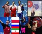 Pódio Halterofilismo 85 kg masculino, Adrian Frantsevich (Polónia), fitness Aujadov (Rússia) e (Irã) - Londres 2012 - Kianoush Rostami