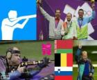 Pódio tiro Carabina deitado 50 m masculino, Sergei Martynov (Bielorrússia), Lionel Cox (Bélgica) e Rajmond Debevec (Eslovénia) - Londres 2012-