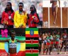 Pódio Atletismo 10.000 m feminino, Tirunesh Dibaba (Etiópia), Sally Kipyego e Vivian Cheruiyot (Quênia) - Londres 2012-