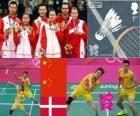 Pódio Badminton duplo misto, Zhang Nan e Zhao Yunlei (China), Xu Chen, Ma Jin (China) e Joachim Fischer/Christinna Pedersen (Dinamarca) - Londres 2012 -
