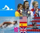 Podium Natação 800 m estilo livre feminino, Katie Ledecky (Estados Unidos), Mireia Belmonte (Espanha) e Rebecca Adlington (Reino Unido) - Londres 2012-