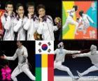 Pódio Esgrima sabre por equipes masculino, Coreia masculino do Sul, Roménia, Itália - Londres 2012-