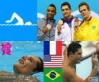 Podium natação 50 m livre masculino, Florent Manaudou (França), Cullen Jones (Estados Unidos) e César Cielo (Brasil) - Londres 2012-