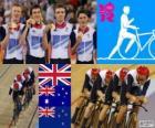 Pódio de ciclismo pista perseguição por equipes de 4000m masculina, Reino Unido, Austrália e Nova Zelândia - Londres 2012-