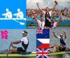 Pódio Remo Skiff simples masculino, Mahe Drysdale (Nova Zelândia), Ondřej Synek (República Checa) e Alan Campbell (Reino Unido) - Londres 2012-
