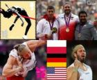 Pódio atletismo arremesso de peso masculino, Tomasz Majewski (Polónia), David Storl (Alemanha) e Reese Hoffa (Estados Unidos) - Londres 2012 - o