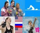 Podió natação 200m estilo costas mulheres, Missy Franklin (Estados Unidos), Anastasia Zueva (Rússia) e Elizabeth Beisel (Estados Unidos) - Londres 2012-
