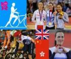 Pódio ciclismo Keirin feminino, Victoria Pendleton (Reino Unido), Guo Shuang (China) e Lee Wai-Sze (Hong Kong) - Londres 2012-