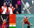 Pódio badminton simples feminino, Li Xuerui (China), Wang Yihan (China) e Saina Nehwal (Índia) - Londres 2012-