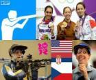 Pódio tiro carabina três posições feminino, Jamie Lynn Gray (Estados Unidos), Ivana Maksimović (Sérvia) e Adela Sykorova (República Checa) - Londres 2012-