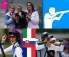 Pódio tiro fossa olímpica feminino, Jessica Rossi (Itália), Zuzana Štefečekova (Eslováquia) e Delphine Réau (França) - Londres 2012-