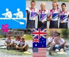 Pódio remo 4 sem masculino, Reino Unido, Austrália e Estados Unidos - Londres 2012-