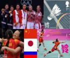 Pódio Badminton duplas femininas, Tian Qing Zhao Yunlei (China), Mizuki Fujii Reika Kakiiwa (Japão) e Valeria Guseva, Nina Vislova (Rússia) - Londres 2012-