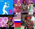 Pódio tênis simples feminino, Serena Williams (Estados Unidos), Maria Sharapova (Rússia) e Victoria Azarenka (Bielorrússia) - Londres 2012-