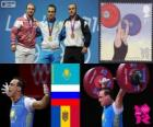 Pódio Halterofilismo 94 kg homens, Ilya Ilyin (Cazaquistão), Alexandr Ivanov (Rússia) e Anatoly Ciricu (Moldávia) - Londres 2012-