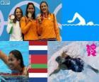 Podium natação 50 m livre feminino, Marleen Veldhuis, Ranomi Kromowidjojo (Países Baixos) e Aliaxandra Herasimenia (Bielorrússia) (Holanda) - Londres 2012-