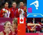 Pódio ginástica de trampolim feminina, Rosannagh Maclennan (Canadá), Huang Shanshan ele Cícero Brazil (China) - Londres 2012-