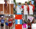Pódio Atletismo 20 km marcha atlética masculina, Chen Ding (China), Erick Barrondo (Guatemala) e Wang Zhen (China) - Londres 2012-