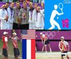 Pópdio tênis duplas masculino, Bob Bryan e Mike Bryan (EUA), Michael Llodra, Jo-Wilfried Tsonga e Julien Benneteau, Richard Gasquet (França) - Londres 2012-