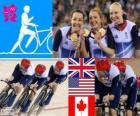 Pódio de ciclismo pista perseguição por equipes de 4000m feminina, Reino Unido, Estados Unidos e Canadá - Londres 2012-