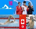 Pódio natação 1500 m livre masculino, Sun Yang (China), Ryan Cochrane (Canadá) e Oussama Mellouli (Tunísia) - Londres 2012-