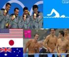 Podium natação revezamento 4x100 m medley masculino, Estados Unidos, Japão e Austrália - Londres 2012-