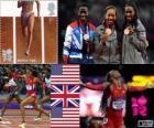 Pódio atletismo 400 m feminino, Sanya Richards-Ross (Estados Unidos), Christine Ohurougu (Reino Unido) e DeeDee Trotter (Estados Unidos), Londres 2012