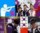 Pódio pistola livre 50 m masculino, Choi Young-Rae, Jon-Goh Jin (Coreia do Sul) e Wang Zhiwei (China), Londres 2012