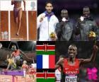 Pódio atletismo 3000 m com obstáculos masculino, Ezekiel Kemboi (Quênia), Mahiedine Mekhissi-Benabbad (França) e Kiprop Mutai de Abel (Quênia) Londres 2012