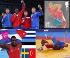 Pódio luta greco-romana 120 kg masculino, Mijail López Núñez (Cuba), Heiki Nabi (Estónia), Johan Euren (Suécia) e Riza Kayaalp (Turquia), Londres 2012