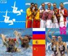 Podium natação synchro dueto, Natalia Ishchenko, Svetlana Romashina (Rússia), Ona Carbonell e Andrea Fuentes (Espanha) e Huang Xuechen, Liu Ou (China), Londres 2012
