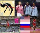 Pódio Atletismo salto em distância feminino, Brittney Reese (Estados Unidos), Elena Sokolova (Rússia) e Janay Deloach (Estados Unidos), Londres 2012