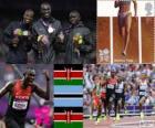 Pódio Atletismo 800 m homens, David Rudisha (Quénia), Nijel Amos (Botswana) e Timothy Kitum (Quênia), Londres 2012