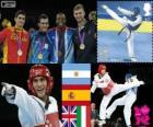 Pódio Taekwondo -80 kg masculino, Sebastián Crismanich (Argentina), Nicolás García Hemme (Espanha), Lutalo Muhammad (Reino Unido) e Mauro Sarmiento (Itália), Londres 2012
