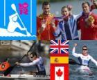 Pódio canoagem velocidade K1 200m masculino, Edward McKeever (Reino Unido), Saúl Craviotto (Espanha) e Mark de Jonge (Canadá), Londres 2012