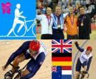Pódio ciclismo Keirin masculina, Chris Hoy (Reino Unido), Maximilian Levy (Alemanha), Simon van Velthooven (Nova Zelândia) e Teun Mulder (Holanda), Londres 2012