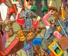Guerreiros Inca lutando