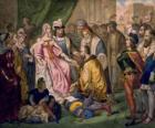 Columbus falando com a rainha Isabel I de Castela, na corte de Ferdinand e Isabella