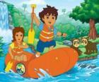 Diego e sua mãe em um bote inflável